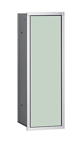 Emco Asis 150 inbouw badkamerkast voor wc-borstel, chroom/glas wit, inbouwkast, deurscharnier naar keuze - 973027831