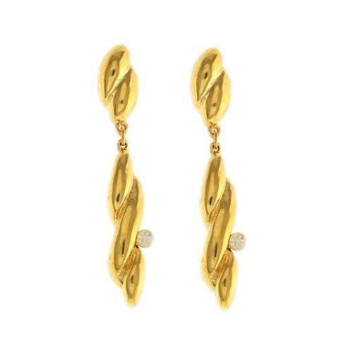 Behave® dames lange oorbellen hangend met patroon en steen van onedel metaal - goudkleurig - 5 cm maat