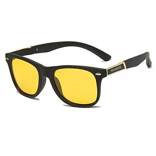 Astemdhj Gafas de Sol Sunglasses Gafas De Sol De Conducción Largas Vintage para Hombre, Gafas De Visión Nocturna Polarizadas, Gafas De Sol para Mujer con Lente Amarilla Kmj801-NvAnti-UV