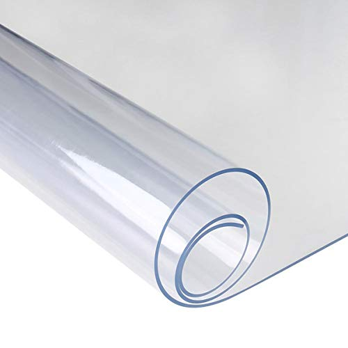 Anladia Mantel Transparente de PVC Plástico Grueso Impermeable para Mesa Cocina (90x130cm)