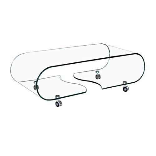 Arreditaly Tavolino Basso Ovale con Ruote Rotelle Salotto Soggiorno Sala da Pranzo Tavolo da caffè Ovale in Vetro Temperato Curvato con Ripiani Design Moderno Elegante Buffalo (120 x 60 x 39 cm)