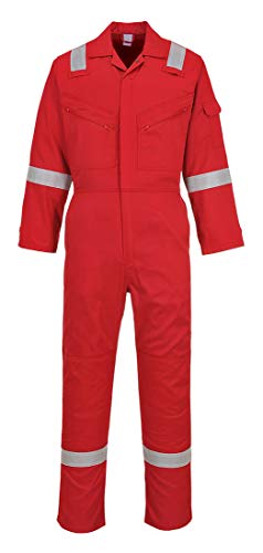 Portwest C814RERL Iona Cotton Heavy Duty Work Overalls with Reflective Safety Tape, Red, Large