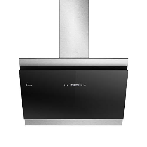 KKT KOLBE Kopffreie Dunstabzugshaube/Wandhaube / 80cm / Edelstahl/Schwarzes Glas/Extra-leise / 605m³/h/RGBW-LED-Beleuchtung/WIFI / 4 Stufen/Touchsteuerung/Nachlaufautomatik / BICOLORE807SM