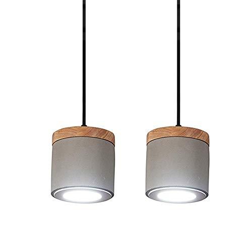 9W LED grau Zement Pendelleuchte, Beton Mini Hängelampe Deckenleuchten mit Holzdekor Leuchte for Restaurant Wohnzimmer Schlafzimmer 12x12cm-Warmweiß 3000K 2Pack (Color : Warmes Licht)