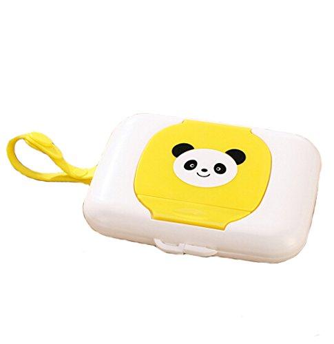 HENGSONG Tragbare Baby Outdoor Reise Feuchttuch Box für Kinderwagen Babybett (Gelb)