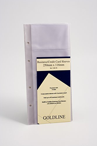 Goldline GBC-RZ - Fundas de recambio para organizador de tarjetas de visita De Luxe (5 unidades, 272 x 150 mm)