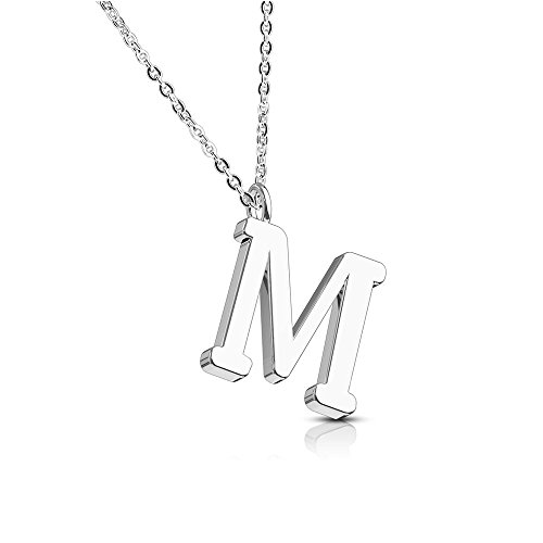 Bungsa Alphabet Letter A-Z in Silver or Rose Gold Pendant Necklace Women's Necklace–Stainless Steel–for Women, Men and Women's Necklace–A B C D E F G H I J K L M N O P R S T U V W Z