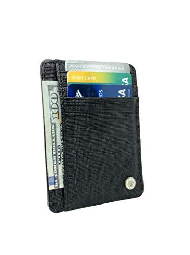 Echtleder Slim Wallet für Herren - Golf Wallet für Minimalistisch - RFID Schutz - Top Golf Zubehör Must Have - Schwarz - Slim