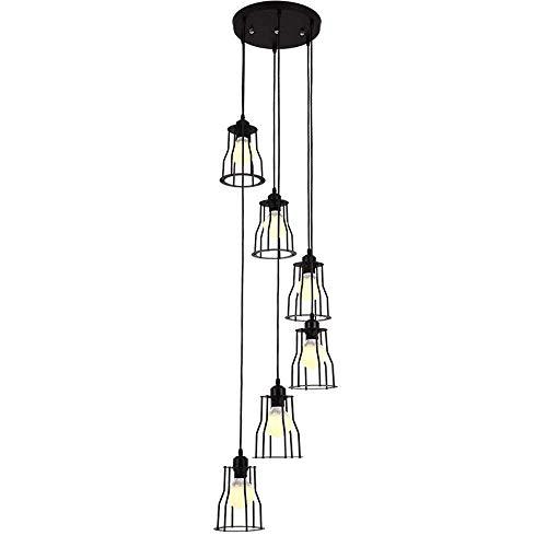 FWZJ Iluminación Lámpara Colgante Lámpara de araña Retro de 6 Luces Lámpara Colgante de Escalera Lámpara de araña en Espiral de Piso de Edificio Industrial para Sala de Estar Pantalla d