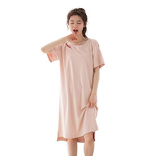 WX-ICZY Moderne beiläufige Frauen Negligée, Trägerlos Cotton Komfortable Super Soft Langer Pyjama Stickerei Breath löst großer Kurzarm Rundhals Negligée,XL