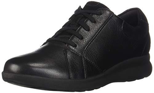 Clarks Women's Un Adorn Lace Sneaker, Black Leather/Suede Combi, 8M