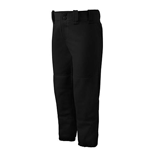 Mizuno Girls Youth Belted Low Rise Fastpitch Softball Pant, Black, Youth Medium