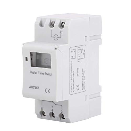 LCD Temporizador de Montaje en Carril AHC 15A Carril DIN Interruptor Temporizador Programable AC250V 16A Digital Pantalla LCD Relé Electrónico Programable Interruptor(12V)