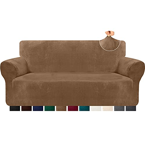 Kiduck 1-Piece Velvet Plush Sofa Slipcover Non Slip Soft Couch Cover for 3 Cushion Couch Super Stretch Universal Sofa Covers Furniture Protector for Kids,Pets (Large, Camel)