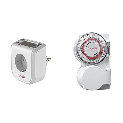 Garza Power - Temporizador-Programador Digital Mini, 16 Programas, 24 Horas+ 400601 Temporizador-Programador Analógico De Exterior, Blanco