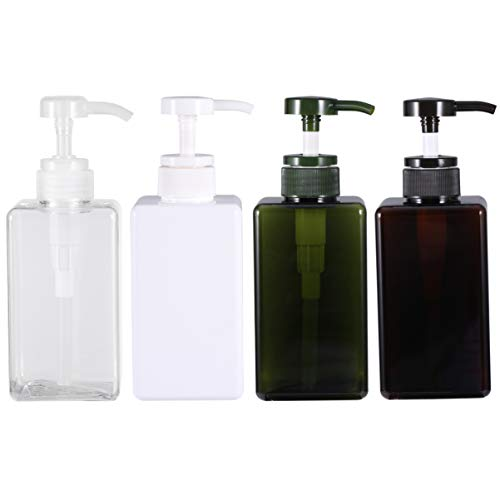 TENDYCOCO Bouteilles à Pompe Bouteille Vide en Plastique avec Pompe Récipients Rechargeables pour Savon Shampooing 450Ml 4Pcs