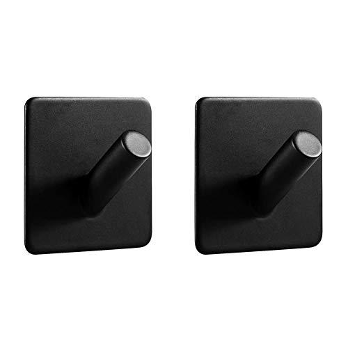 LJLink SUS304 - Gancho de pared para toallas de baño y cocina, sin agujeros, acero inoxidable, autoadhesivo, 2 unidades, color negro