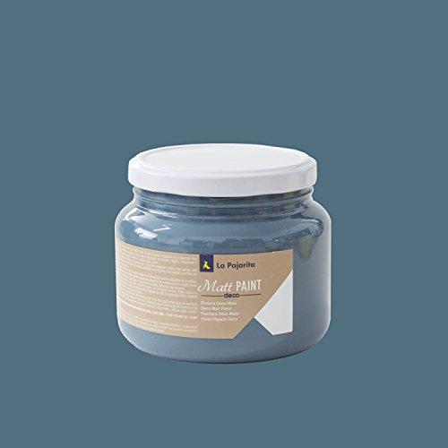 La Pajarita Matt Paint MP-08, Pintura Mate Base Agua, Azul, 500 ml