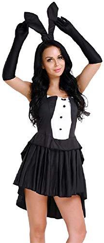 Lovelegis Disfraz de conejita Sexy - hechicera - ilusionista - Juegos de prestigio - Mujer niña - Disfraz - Carnaval - Halloween - Cosplay - Accesorios - Color Blanco y Negro - Talla XXL