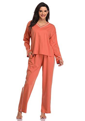 SHEKINI Pijamas para Mujer 2 Piezas de Invierno Algodon Manga Larga Cuello en V Ropa de Domir Estilo Casual(Rojo ladrillo,L)
