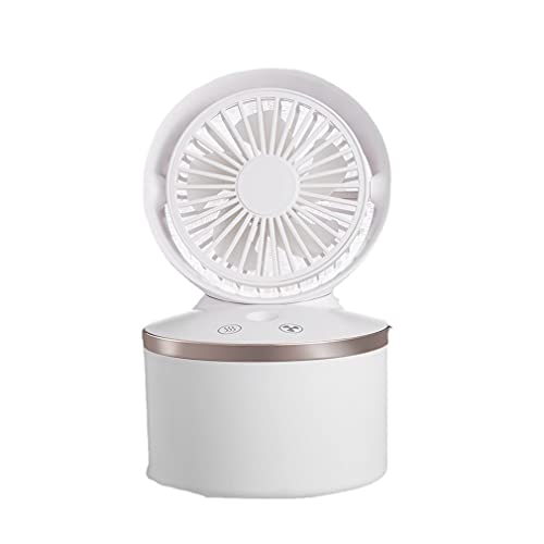Nuevo ventilador de pulverización, ventilador de escritorio con spray de aire, mini ventilador humidificador con tanque de agua silencioso, para oficina en casa (blanco)