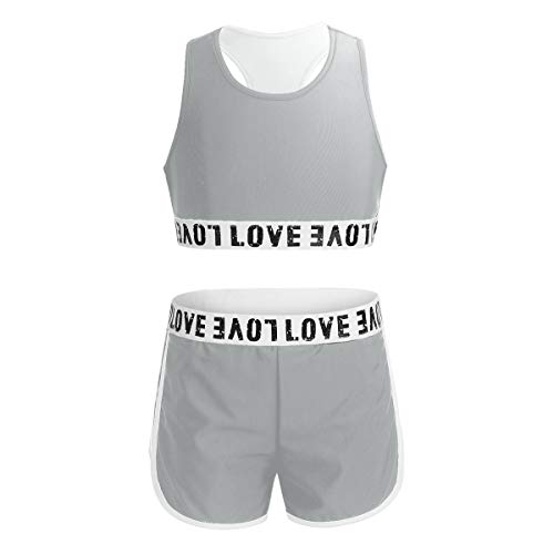 Kaerm Kids Girls Solid Racer Back Crop Top with Booty Shorts Love Dance 2 Pcs Activewear Outfit Grey 8