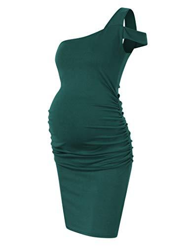 Coolmee Vestido de maternidad de las mujeres casual cuello en V sin mangas de color sólido fruncido hasta la rodilla vestidos de maternidad, greend, XXL