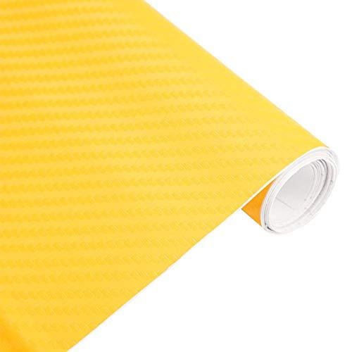 JiuRui DIY Verpackung 30cmx127cm Car Styling-Zubehör 3D-Carbon-Faser-Vinylauto-Verpackungs-Blatt-Rolle Film-Auto-Aufkleber auf dem Auto (Color Name : Yellow)