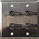 TecNec 2-Gang Stainless Steel Wall Plate with 4 BNC- RGBS Barrels