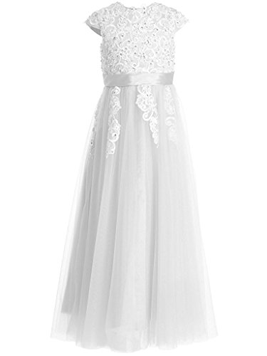 Kissangel Long White Flower Girl Dresses Lace Ivory First Communion Dress Online (9, White)