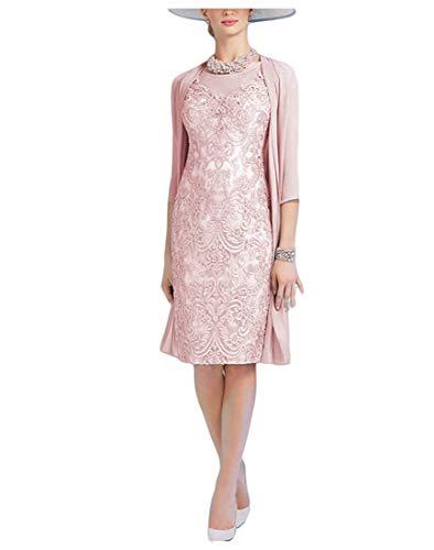 Royaldress Spitze Zweiteilig Abendkleider Brautmutterkleider Hochzeitsgaeste Festliche Kleider Knielang Kurz Etuikleider -42 Hell Rosa