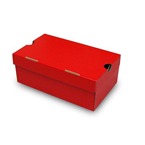 靴箱[N式タイプ] NO1(285×180×110) 赤 5枚セット (シューズボックス ダンボール 段ボール 靴収納ボックス 1足用)