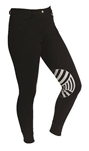 Caldene Competition, Pantaloni da Equitazione con Seduta Imbottita e Vita Bassa Donna Derby, Nero (Black), 30'