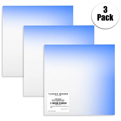 "Cool Blue Color-Changing Vinyl, Turns Bright Blue When Cold, 12""x12"" Cold Blue Vinyl Mood Vinyl Sheets for Cricut, Silhouette, Stickers, Decals, Cups, Water Bottles by Turner Moore Edition, 3-pk"