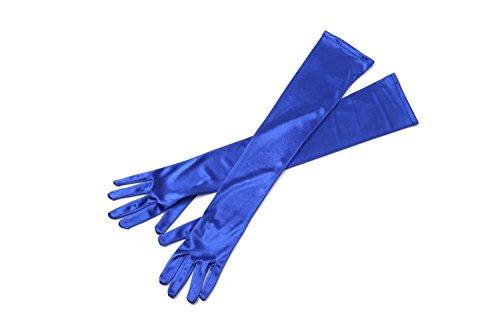 Blaue lange Satin elegante Vintage Opera Party-Handschuhe-verführerische Saphir