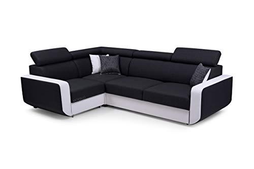 MOEBLO Ecksofa mit Schlaffunktion Eckcouch mit Bettkasten Sofa Couch L-Form Polsterecke Celine (Schwarz + Weiß, Ecksofa Links)