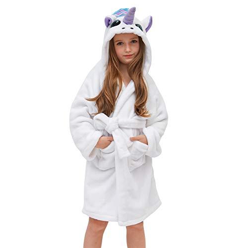 Basumee Mädchen Bademantel Einhorn Fleecebadementel mit Kapuze für Kinder 8-9 Jahre