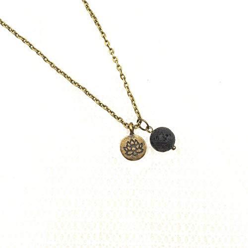 YUNGYE Pendant 10pc Lotus Vendimia del Encanto de la Naturaleza de la Roca de Lava Piedra Collar Aroma Difusor de Aceite Esencial (Metal Color : Antique Bronze)