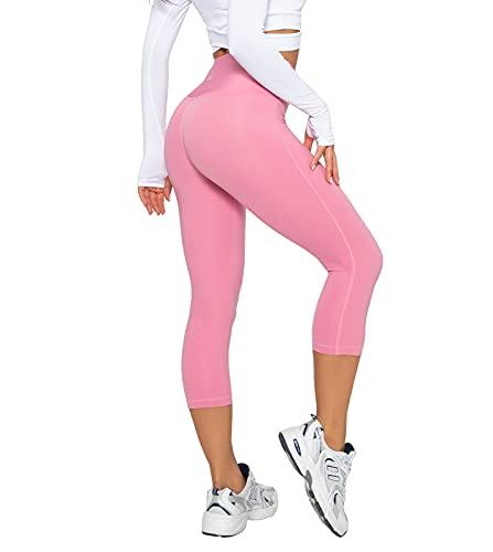 LAPASA Pantalones Piratas 3/4 Capris Mujer, Mallas Deportivas con Bolsillo, Leggins de Deporte para Yoga Cintura Alta Versión 2021 L02