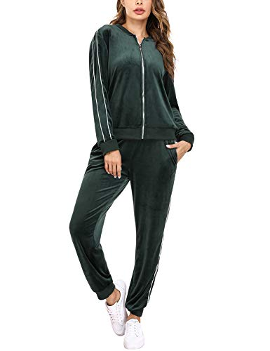 Irevial Zweiteiler Damen Jogginganzug Trainingsanzug Samt Freizeitanzug Zweiteiliger Zipper Jacke Hose Kordelzug Taschen