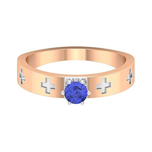 Anillo solitario de tanzanita de 1/2 quilates, anillo de compromiso de diamantes HI-SI, anillo de dos tonos de oro, anillo de boda para mujeres, 18K Oro rosa, Size:EU 55