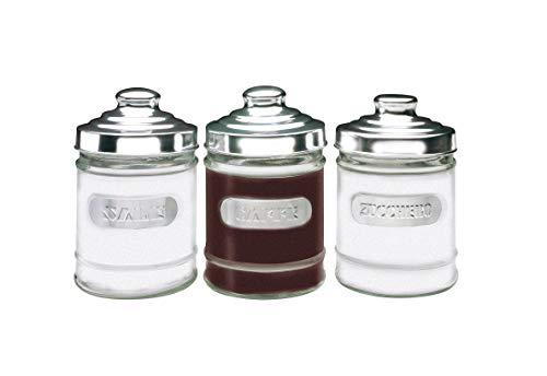 Excelsa Trix Set 3 Barattoli: Sale, caffè e Zucchero, Vetro, Alluminio, capacità: 0,72 Litri