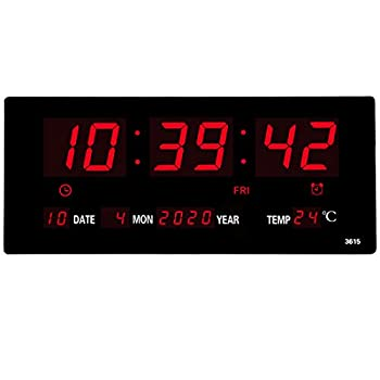 14.1 Inch Oversized LED Digital Wall Clock/Calendar Large Display with Indoor Temperature Date and Day of Week,Electric Wall Mounted Desk Clock Timer,Red