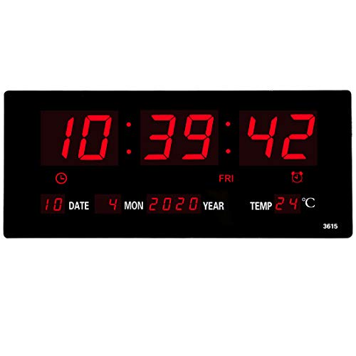 HOMSMILE 14.1 Inch Oversized LED Digital Wall Clock/Calendar Large Display with Indoor Temperature Date and Day of Week,Electric Wall Mounted Desk Clock Timer,Red