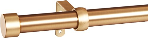 Umbra Cappa Curtain 1-Inch Drapery Rod Extends from 66 to 120 Inches, Includes 2 Matching Finials, Brackets & Hardware, 120-Inch, Brushed Brass