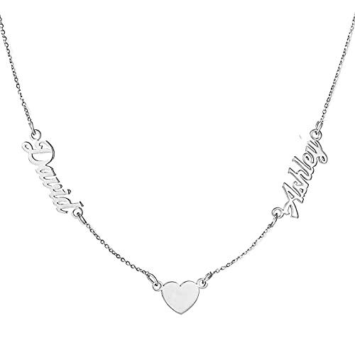 Collar con colgante de corazón personalizado, nombre personalizado para parejas, collar con nombre inicial personalizado, regalo para mujeres y niñas