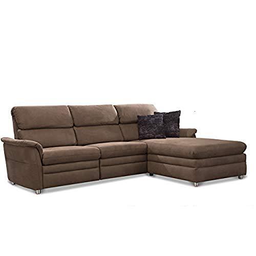 Cavadore 526 Chalsay Ecksofa mit Longchair rechts / mit Federkern / Eckcouch im modernen Design / Größe: 252 x 94 x 177 cm (BxHxT) / Farbe: Braun (chocco)