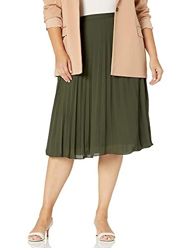 Tahari ASL Women's Sunburst Pleated Skirt, Military, 16