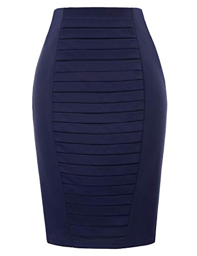 Midi Pencil Skirt with Back Slit Zipper Pleated Front for Women