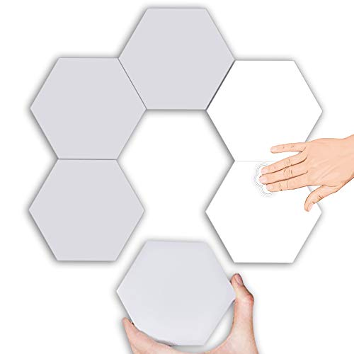 Hexagon Led Light Panel Wand, Led Platten Smart Touch Light Panels, RGB Wandleuchte, Gaming Room Deko, Wand Led Beleuchtung,Weiß,6PC